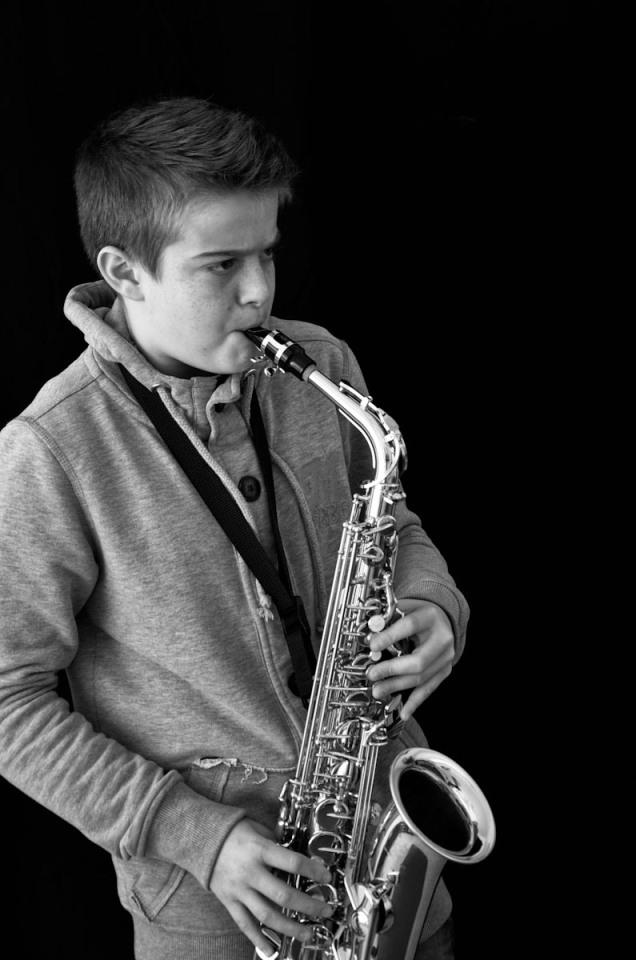 Ritratto in Bianco e nero, suonatore di Sassofono